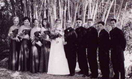 Our wedding party in 2003 - shot on black and white film -remember when that was a thing?